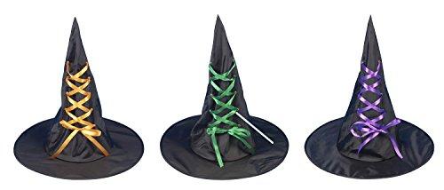 Halloween Party Kleid bis Spielzeug Erwachsene Hexe Hat Schwarz Trick or Treat Kostüm–Hexe Hat–von Guilty Gadgets, Witch Hat with (Halloween Or Treat Trick Kostüme)