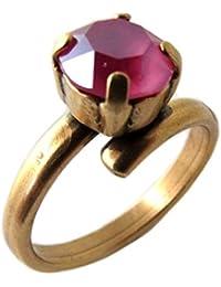Lily-Crystal [Q2727 - Anillo Hecho a Mano 'Tsarine' en Oro Rosa - 8 mm.