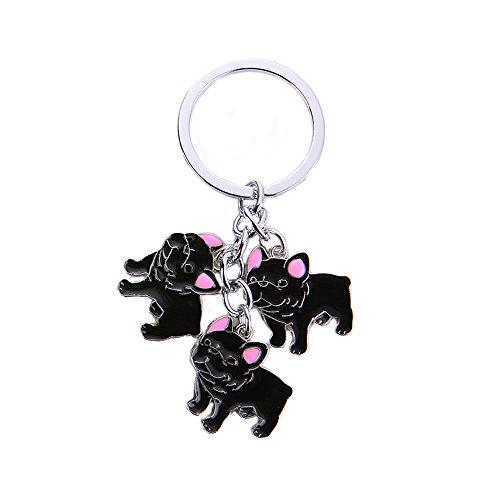 Dreamls Dogs ID Tag Schlüsselanhänger, hübsche DREI Haustier-Anhänger Metall Schlüsselanhänger Ring Handtasche Geldbörse Auto Schlüsselanhänger für Freunde Liebhaber, Black French Bulldog -