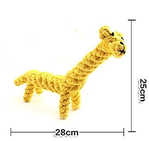 Stillshine Chiens jouets pour animaux de compagnie coton tissé Chew corde jouet pour chiot petit chien mordant Nettoyage dent (girafe)
