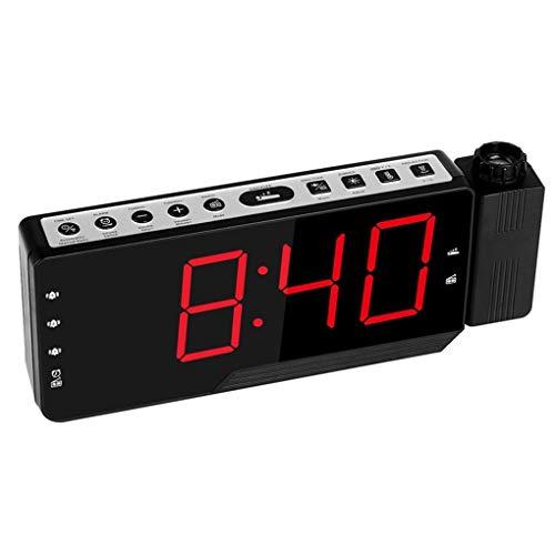 Preisvergleich Produktbild Minzhi Elektrischer Desktop Clock elektronischer Alarm-LED-Screen-Display-Zeit-Temperatur-Kalender Porjection Schreibtisch-Uhr FM Radio