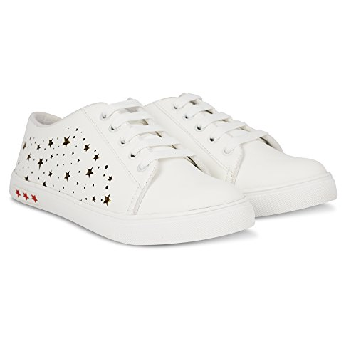 Denill Women's White Synthetic Comfortable & Fashionable Sneaker Shoes , Size (6 UK/India (39EU))
