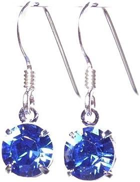 pewterhooter petite 925 Sterling Silber Tropfenohrringe Ohrringe mit Saphirblau Swarovski-Kristall Elemente auf...