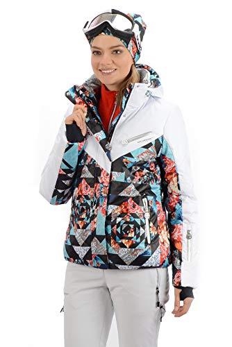 Stayer Damen Skijacke Winterjacke Thermo-Jacke Weiß Bunt Muster dezent elegant warm (2XL)