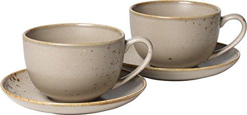 Villeroy & Boch Vivo Group Stone Ware Brown Juego de café con leche, 4 piezas, Gres, Marrón
