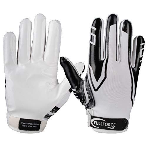 Full Force American Football Receiver Gloves Handschuhe Titanium 3 - weiß/schwarz Gr. M