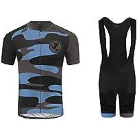 Uglyfrog MTB Ropa de Ciclismo Equipos de Ciclismo al Aire Libre para Hombres Bicicleta Ropa Deportiva Camisa de Manga Corta de Verano +Bib Pantalones Cortos con Correa
