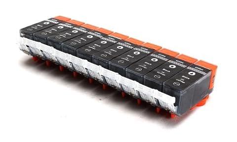 10er Set kompatible Druckerpatronen für CANON PGI-525 mit CHIP und Füllstandsanzeige | 10x PGI-525BK / Schwarz | ersetzt Patronen für Canon Pixma IP4850 IP4950 IX6550 MG5150 MG5250 MG5350 MG6150 MG6250 MG8150 MX885 MX715