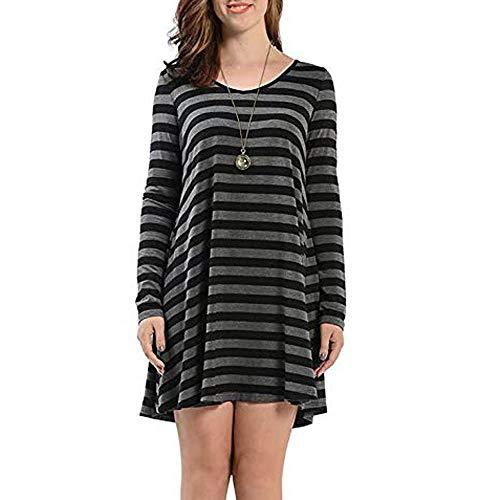 JiaMeng Heißer Frauen Damen Casual Streifen Farbe Block Taschen Langarm Täglichen Club Mini Kleid