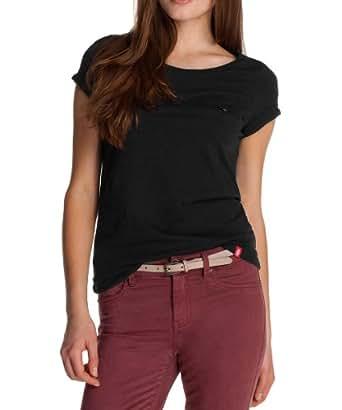 edc by ESPRIT Damen T-Shirt, 082CC1K034, Gr. 34 (XS), Schwarz (black 001)