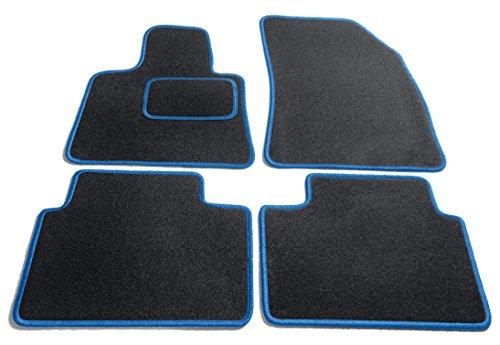 Preisvergleich Produktbild JediMats 50055 Korfu Maßgeschneiderte Fußmatte für Ihr Auto, Schwarz, Agila Blau Umrandung