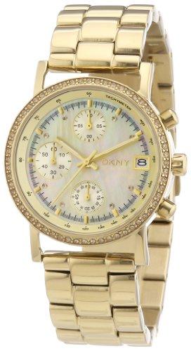 DKNY Lexington Chrono NY8340 - Reloj cronógrafo de cuarzo para mujer, correa de acero inoxidable chapado color dorado (cronómetro)