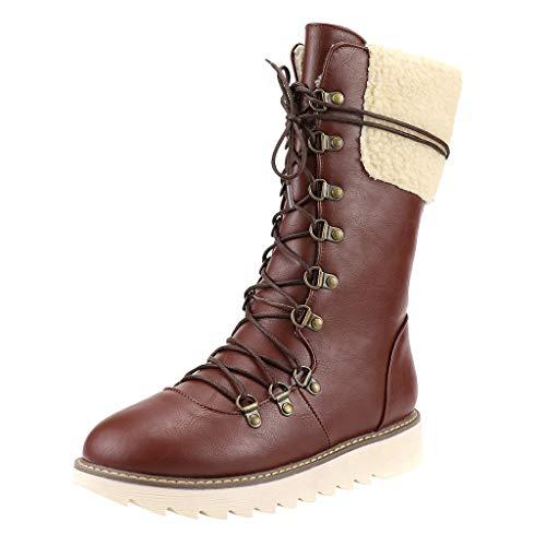 DOLDOA Damenstiefel Weiblicher Frauen Retro Schuhe Baumwolle Stiefel rutschfeste Starke Ferse Ritter Martin Stiefel