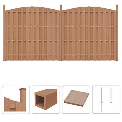 Festnight WPC Zaun-Set | Zaunpaneel-Set | Gartenzaun | Sichtschutzzaun | Dichtzaun | Zaunelemente | Windschutz Zaun | Braun 2 Geschwungen 376 x (165-185) cm