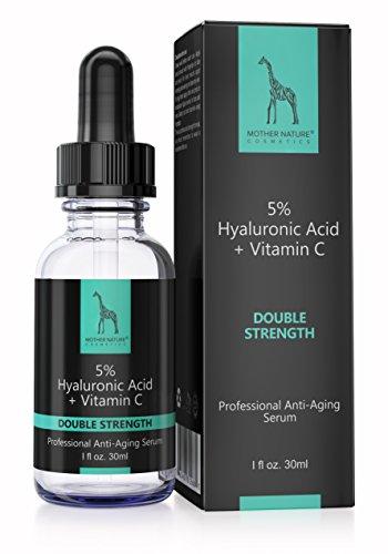 Hyaluronsäure Serum by Mother Nature - Anti-Aging Collagen-Booster für Gesicht + Körper - Falten + Augenringe bekämpfen - Mit Vitamin C + E - 30 ml - Hochdosiert