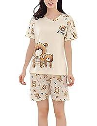 Lannister Fashion Pijamas Mujer Verano Elegante Manga Corta Cuello Redondo Camison Camisones Sleepwear Camisetas Tops+