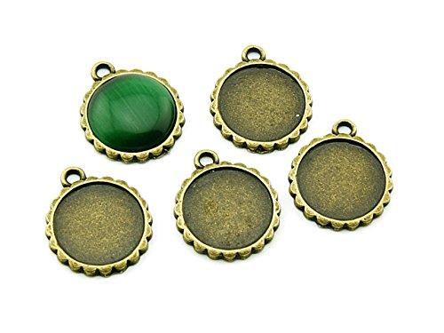 4 Fassungen für 16 mm Cabochons antik bronze von Vintageparts, DIY-Schmuck