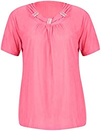 Womens Short Sleeve Ladies Stretch Round Neckline Ruched Gathered Beaded Crinkle Blouse T-Shirt Top Plus Size