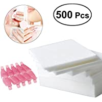 Frcolor Nail Wipe almohadillas de algodón, uñas UV gel removedor de polaco con 10pcs esmalte de uñas quitar tapas de limpiadores tapas 500pcs / Pack (rosa)