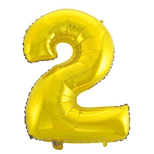 Cotigo-Globo Número 2 de Foil Color Oro 40cm para Adornar Fiestas de Cumpleaños
