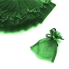Idea Regalo - C.X.Y. 100 Sacchetti Organza 7 * 9cm Confetti Bomboniera Regalo (Verde Ufficio)
