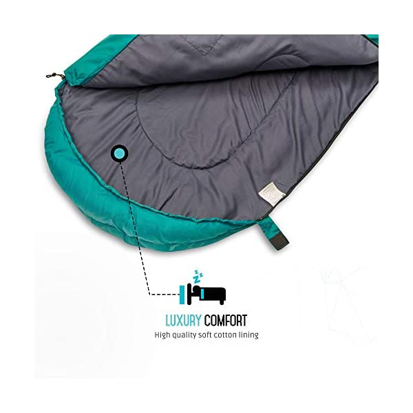Endor Forest Sleeping Bag for Adults and Kids - Made With Ripstop Polyester, Single Envelope 3 Season Sleeping Bag for Camping - Lightweight, Compact and Water Resistant for a Comfortable Warm Sleep 5