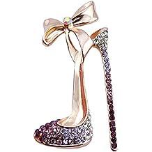 gespout elegante moda broche Lady broche accesorios Bowknot tacón brillantes joyas regalo de cumpleaños (apto
