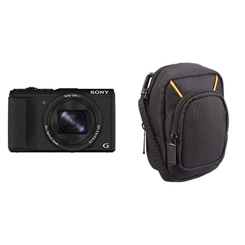 Sony DSC-HX60 Digitalkamera (20,4 Megapixel, 30-Fach Opt. Zoom, 7,5 cm (3 Zoll) LCD-Display, Exmor R CMOS Sensor, NFC/WiFi) schwarz & AmazonBasics Kameratasche für Kompaktkameras, groß - Lcd-tv Sony 60