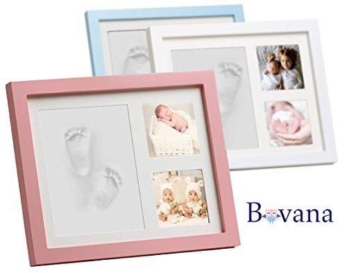 Preisvergleich Produktbild Bovana Baby Bilderrahmen Set aus Holz mit Ton für Fußabdruck, Handabdruck - Abdruck auch für Hundepfoten und Katzenpfoten - Rosa