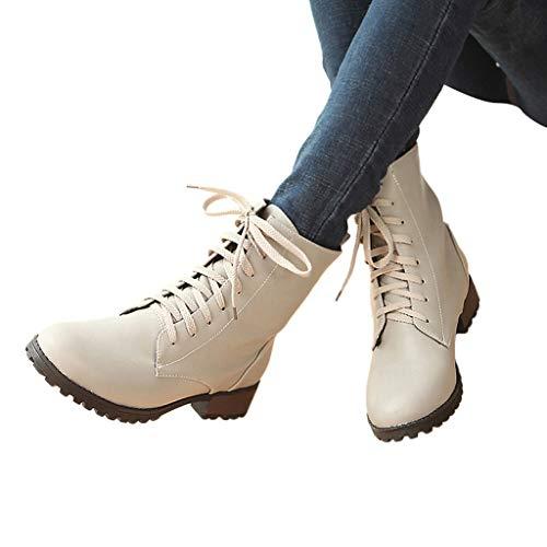 TianWlio Frauen Herbst Winter Stiefel Schuhe Stiefeletten Boots Schnürschuhe Stiefel Lässige Cross-Strap Stiefel Mode Damen Schneestiefel Grau 41