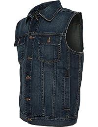 Veste sans manches pour homme jeans jean délavé)