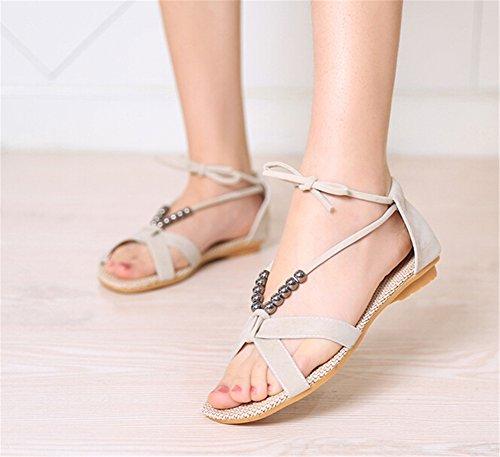 Fortuning's JDS Mesdames filles perles de la mode à lacets sandales plates chaussures d'été Beige
