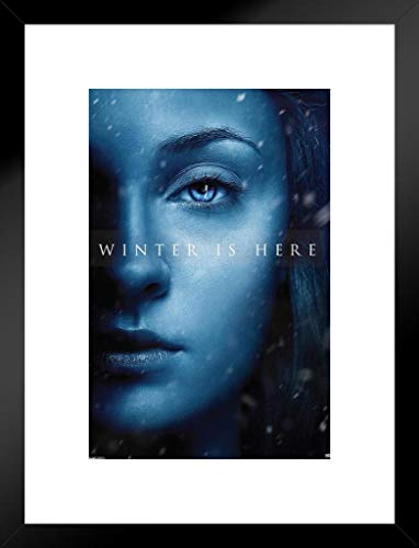 Pyramid America Game Thrones Season 7Sansa Stark Winter is Hier TV Show 20x26 inches Matted Framed Poster