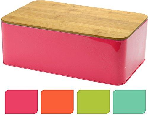 Brotbox TRENDY mit Bambus Schneidebrett - Brotkasten Brotdose Brotaufbewahrung 32x21x12 Pink