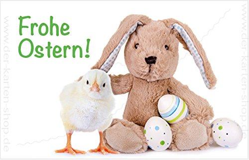 Frohe Ostern Karte.Kleine Minikarten Osterkarte Mit Kuken Ostereiern Und Osterhase Frohe Ostern