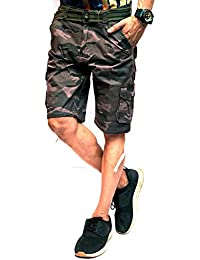 Timbre Men's Army Print Camouflage Comfortable Cargo Shorts with 9 Pockets for Men/Boys
