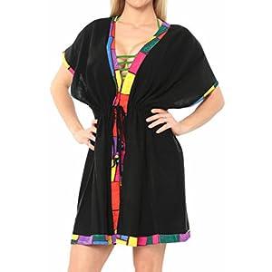 LA LEELA Copricostume Mare Cardigan Donna Taglie Forti- Vintage Rayon Estivo Scialle Elegante Solido Kimono Vestito Corto Estate Boho Tunica Etnica Abito da Spiaggia F 10 spesavip