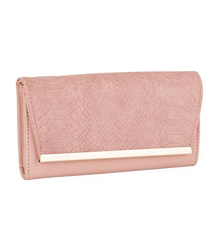 SIX Langes Portemonnaie, Geldbörse in rosa nude mit Schlangen Optik (703-356)