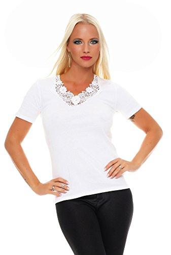 Damen-Hemd mit Spitze und V-Ausschnitt (Shirt, Top, Damenhemd) Nr. 404  Weiß
