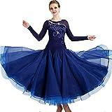Standard Ballsaal Tanzkleid für Frauen Leistungsanzug Lange Ärmel Walzer Tango glatt Wettbewerb Kleider, XXL