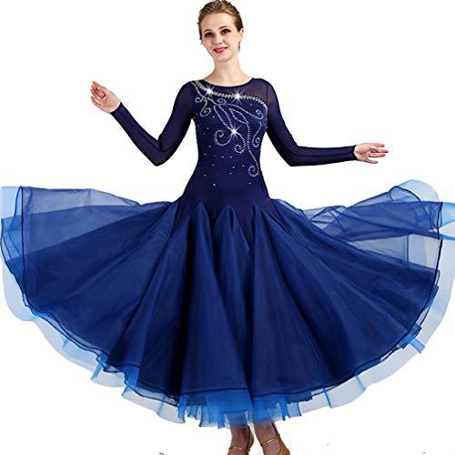(Standard Ballsaal Tanzkleid für Frauen Leistungsanzug Lange Ärmel Walzer Tango glatt Wettbewerb Kleider, L)