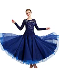 ccca559e06736d Standard Ballsaal Tanzkleid für Frauen Leistungsanzug Lange Ärmel Walzer  Tango glatt Wettbewerb Kleider