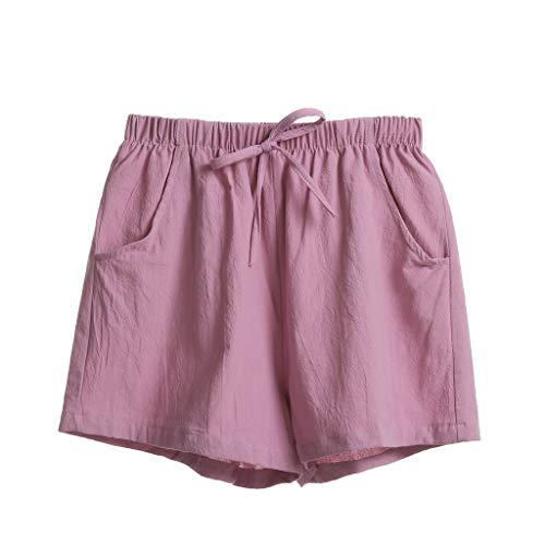 ose Damen Solid Einfarbig Bettwäsche Baumwolle Lose Casual Pyjama Trousers Tie Riemchen High Waist Arbeitskleidung Mini Freizeithose Stoffhose (L,Rosa) ()