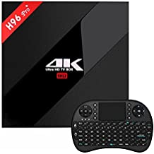 [3GB + 32GB H96 Pro+],Ruiwin TV Caja Android 6.0 Reproductor Amlogic S912 64bit Octa-core 4K Smart TV BOX Bluetooth 4.1 Televisión Caja Dual Band WIFI 1000M LAN (H96 pro plus 3G +32G with Black i8 Keyboard)