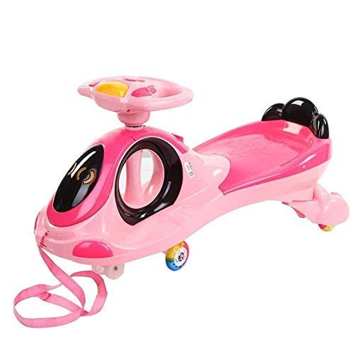 Kinder Twist Auto, Yo-Auto-Universal Rad 1-6 Jahre alt Baby-Schaukel Auto mit Zugseil regelbarer Lautstärke yyqt (Color : Pink)