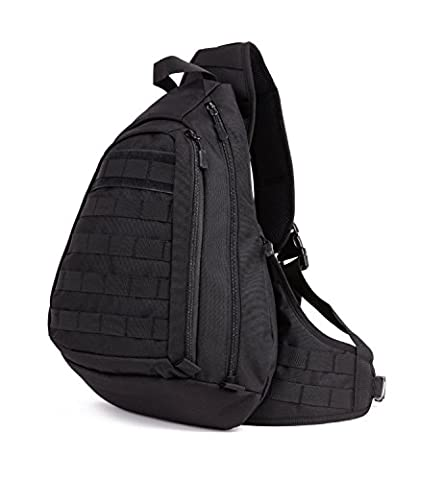 Tactical Military Rucksack Molle Sling Chest Bag Single Shoulder Backpack for Cycling Hiking Climbing Gym Outdoor Sports (Black)