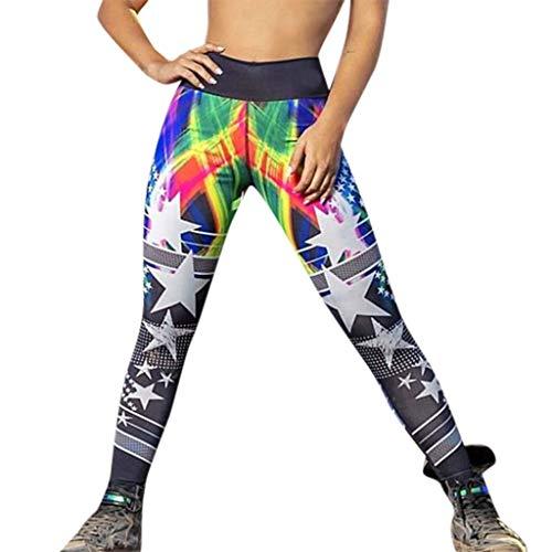 TianWlio Leggings Damen Sport Fitness Hohe Taillen Yoga Stern Druck Spleiß Legging Laufende Sporthose ()