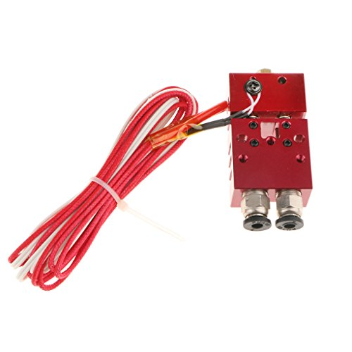 H HILABEE Doble Cabeza Boquilla Extrusora 0.4mm / 1.75 Mm HotEnd Color Mezclado Interruptor 3D Impresora con Cable
