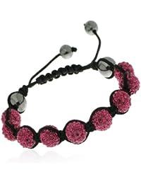 Shamballa'styl - 9f - Bracelet 9 Boules Fuchsia Mixte - Macramé Tressé - Cristal/Hématite - Rose - Ajustable