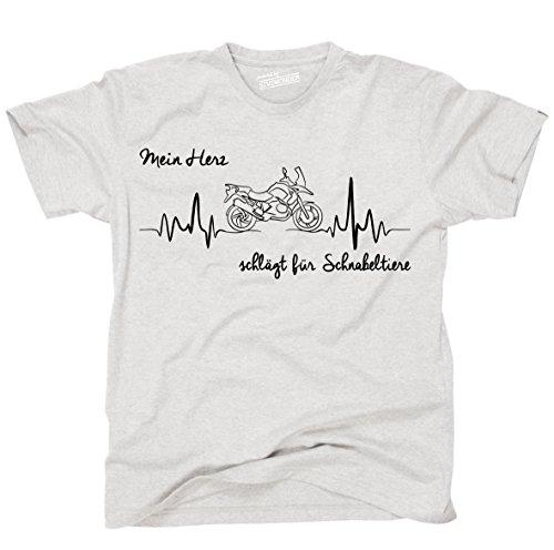 Siviwonder Unisex T-Shirt SCHNABELTIER HERZ HEARTBEAT Motorrad Ash
